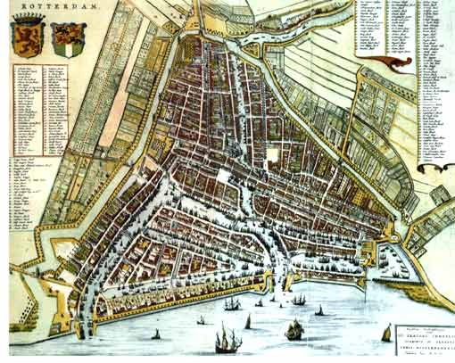 Old city map of Rotterdam