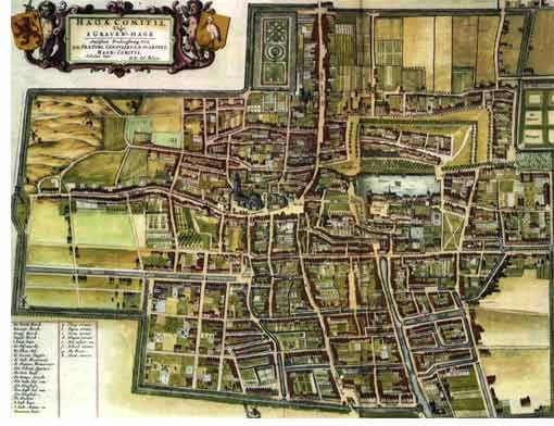 Old city map of The Hague